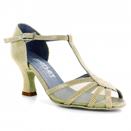 Chaussure de danse en cuir effet python et résille - Jasmine