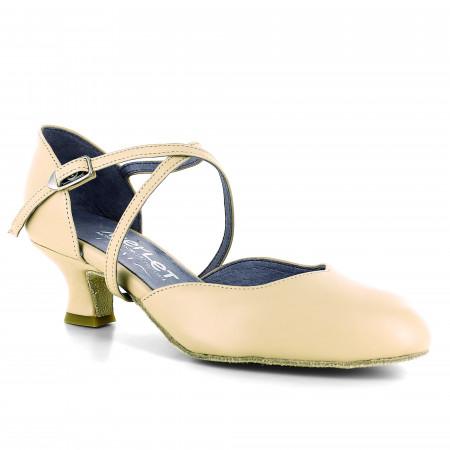 Chaussure de danse en cuir beige et bride croisée - Bari
