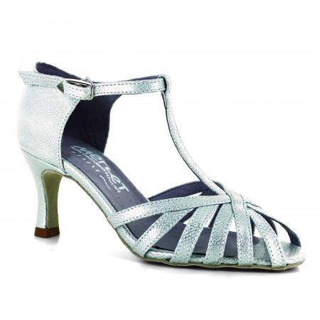 Chaussure de danse latine en cuir argent effet python et bride salomé - Sabine