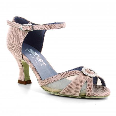 Chaussure de danse en cuir rose effet python et résille - Jolene