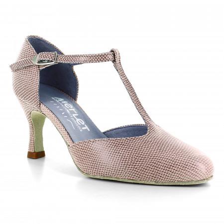 Chaussure de danse en cuir rose effet python - Nina