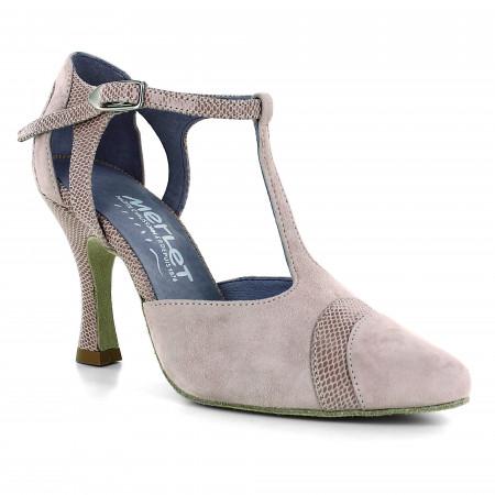 Chaussure de danse à bout fermé en nubuck rosé et cuir effet python - Luna