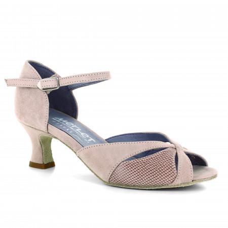 Chaussure de danse de salon en nubuck et cuir rosé effet python - Kalis