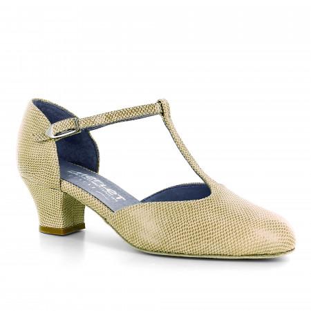 Chaussure de danse en cuir beige effet python et bride salomé - Eva