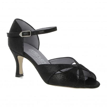 Chaussure de danse en cuir imprimé python et semelle cuir lisse - Saphir